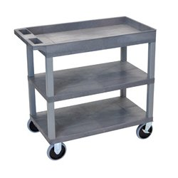 Luxor / H Wilson - EC122HD-G - Luxor EC122HD-G 32 x 18-Inch Gray Plastic 1 Tub and 2 Flat Shelf Roll Utility Cart