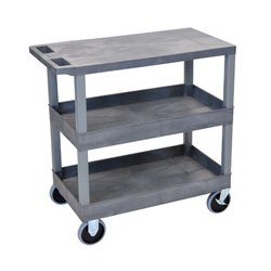 Luxor / H Wilson - EC211HD-G - Luxor EC211HD-G 32 x 18-Inch Gray Plastic 2 Tub and 1 Flat Shelf Utility Cart