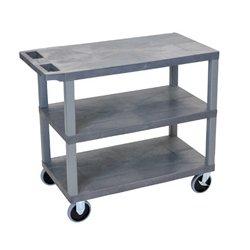 Luxor / H Wilson - EC222HD-G - Luxor EC222HD-G 32 x 18-Inch Gray Plastic Multi-Purpose 3 Flat Utility Cart
