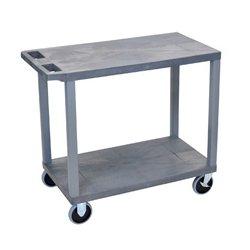 Luxor / H Wilson - EC22HD-G - Luxor EC22HD-G 32 x 18-Inch Gray Plastic Multi-Purpose 2 Flat Utility Cart