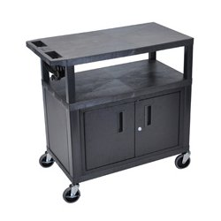 Luxor / H Wilson - EA34CE-B - Luxor EA34CE-B 34-Inch 3-Shelf Electric Presentation Cart w/ Cabinet - Black