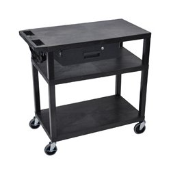 Luxor / H Wilson - EA34DE-B - Luxor EA34DE-B 34-Inch 3-Shelf Electric Presentation Cart w/ Drawer - Black