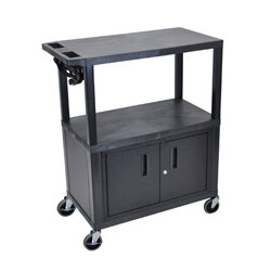 Luxor / H Wilson - EA42CE-B - Luxor EA42CE-B 42-Inch 3-Shelf Electric Presentation Cart w/ Cabinet - Black