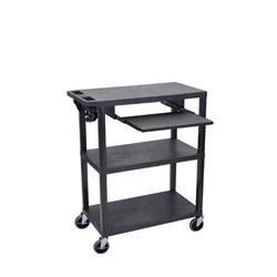 Luxor / H Wilson - EA42LE-B - Luxor EA42L-B 42-Inch 3-Shelf Electric Flat Presentation Cart w/ Pullout - Black