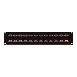 Connectronics - 12XDB9F/F - 12 Point RS-422 9-Pin Female-Female Patch Panel 1RU/12 Across