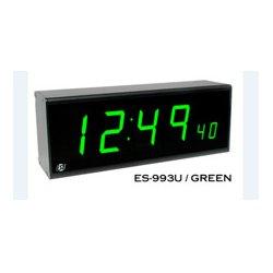 ESE - ES 993U P BLACK GREEN LED - ES 993U Remote Clock Display with Rackmount Black Faceplate and Green LED