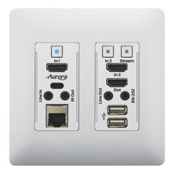 Aurora Multimedia - VLX-TCW2H-C-W - Aurora VLX-TCW2H-C 4K IP Audio/Video Distribution Wall Plate - White