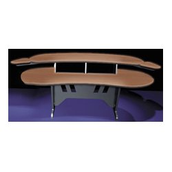 Middle Atlantic Products - ELUR-HM - Mid-Atlantic 84 Inch Desk w/Overbridge w/2 4-Space Racks Honey Maple