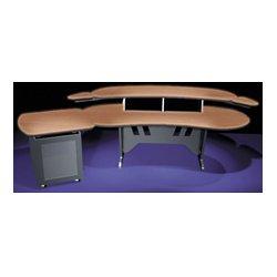 Middle Atlantic Products - ELUR+S12D-HM - Mid-Atlantic 84 In. Desk w/Overbridge 2 Racks/1-Bay 12-Space Rack (Honey Maple)