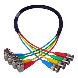 Laird Telemedia - CION-4SDI-18IN - Laird 6G/12G (2k/4k) HD-SDI 4-Channel Right Angle BNC Video Cable - 18 Inch