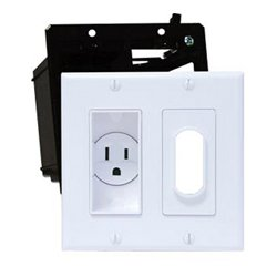 Midlite - 2A4641-IY - Double Gang Decor Recessed Receptacle HDTV Plate Kit Ivory