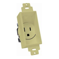 Midlite - 4641-IY - Single Gang Decor Recessed AC Receptacle Ivory