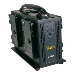 ikan - C-4KA - ikan Quad Pro Battery Charger for AB Mount - 120 V AC, 230 V AC Input - 16.8 V DC Output - AC Plug - 4 - Proprietary Battery Size
