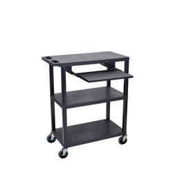 Luxor / H Wilson - EA42L-B - Luxor EA42L-B 42-Inch 3-Shelf Portable Flat Presentation Cart w/ Pullout - Black