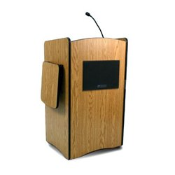 AmpliVox - SW3230-MO - Amplivox SW3230 Wireless Multimedia Computer Lectern Handheld Mic- Medium Oak