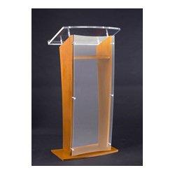 AmpliVox - SN350006 - Amplivox SN3500-MO Medium Oak & Clear Acrylic Panel Floor Lectern with Shelf