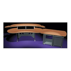 Middle Atlantic Products - ELUR+D12D-PS - Mid-Atlantic 84 In. Desk w/Overbridge 2 Racks/2-Bay 24-Space Rack (Pepperstone)