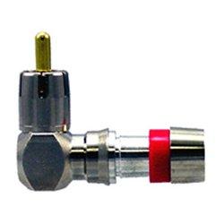 ICM - FS59URA - ICM RG59/59 Quad F Right Angle Connector (Red) 25pk