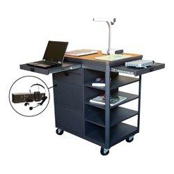 Marvel Office Furniture - MVCDM3624OKDT-E - Multi-Media Cart with Steel Door & Ear Mic - Oak