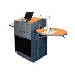 Marvel Office Furniture - MVLSA3030OKDT-E - Stationary Lectern - Acrylic Door; Earpiece Mic - Oak