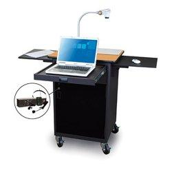 Marvel Office Furniture - MVPCA2622OKDT-E - Presentation Cart with Acrylic Door & Earpiece Mic - Oak