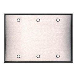 TecNec - WP3-PLAS/WHITE - BlankTriple Gang White Nylon Wall Plate
