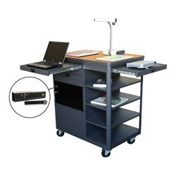 Marvel Office Furniture - MVCDA3624OKDT-H - Multi-Media Cart with Acrylic Door & Hand Mic - Oak
