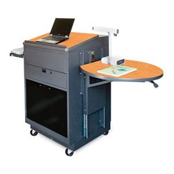 Marvel Office Furniture - MVLMA3030OKDT-H - Lectern/Media Center - Acrylic Door; Hand Mic - Oak