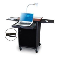 Marvel Office Furniture - MVPCA2622CHDT-H - Presentation Cart with Acrylic Door & Hand Mic - Cherry