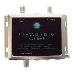 Channel Vision - 15WB - Channel Vision 15dB RF Amplifier for Standard and Wide Bandwidth CATV Systems