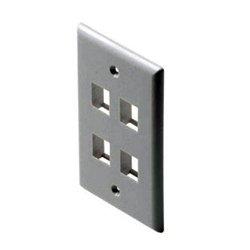 TecNec - 310-204WE - Fast Media 4-Port Keystone Wall Plate White