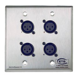 Energy Transformation Systems - PA202FWP - ETS InstaSnake Wall Plate- Send 4 FXLR to 110 Punch Down