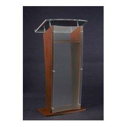 AmpliVox - SN350007 - Amplivox SN3500-WT Medium Walnut & Clear Acrylic Panel Floor Lectern w/ Shelf