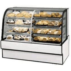 Federal - CGR7748DZ - CGR7748DZ Curved Glass Vertical Dual Zone Bakery Case Refrigerated Left Non-Refrigerated Right
