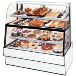 Federal - CGR7760DZH - CGR7760DZH Curved Glass Horizontal Dual Zone Bakery Case Refrigerated Bottom Non-Refrigerated Top