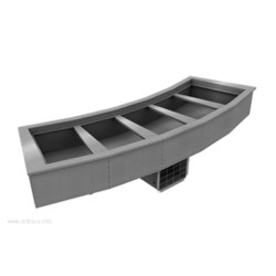 Delfield - N8144-BR - N8144-BR Drop-In Curved Mechanically Cooled Cold Pan