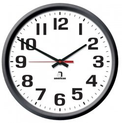 American Time & Signal - E56badd301bp-web - Clock Quartz 12 Round/surface Black Ch 1 W/ Battery Booster