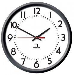 American Time & Signal - E56badd304bp-web - Clock Quartz 12 Round/surface Black Ch 4 W/ Battery Booster
