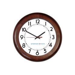 American Time & Signal - E56mgdd304bp-web - Clock Quartz 12 Wood Mahogany Ch 4 Battery Booster Poly Lens