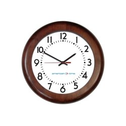 American Time & Signal - E56mgnd304bp-web - Clock Rc 12 Wood Mahogany Ch 4 Battery Booster Poly Lens