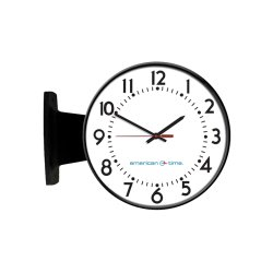 American Time & Signal - Sq54bhdd904bpl-web - Clock Ssiq 12 Round/surface Black Quartz Ch 4 W/ Battery Booster Logo