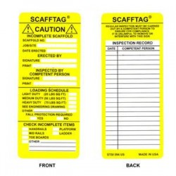 Brady - 104114BY - Brady Scafftag Caution Inserts, 7 5/8 x 3 1/4, Yellow, 100/Pkg