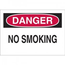 Brady - 25077BY - Brady Danger No Smoking Sign, 10 x 14