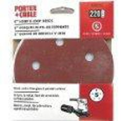 Porter Cable - 735502205 - 5-Inch 220 Grit Hook and Loop Discs - 5 Pack