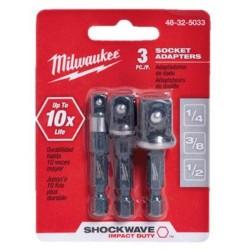 Milwaukee Electric Tool - 156346 - Milwaukee 48-32-5033 3PC Socket Adapter (1/4, 3/8, 1/2)