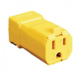 Hubbell - HBL5969VY - Hubbell-Kellems HBL5969VY Straight Blade Connector, 15A, 125V, 5-15R, Valise, Yellow