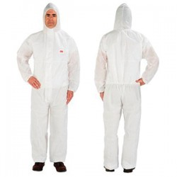 3M - 4515-L - 3M 4515-L Disposable Protective Coverall with Hood; Large, W...
