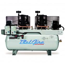BelAire Compressors - 3112D - BelAire 3112D Horizontal 10Hp 5 x 5, 120 Gallon, 208/230v 1Phase Duplex (33.22 Cfm@175)