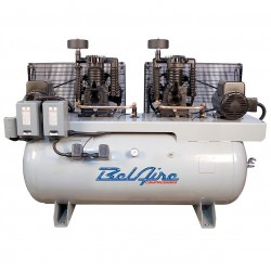BelAire Compressors - 3312DL - BelAire 3312DL Horizontal 15 Hp 7.5 x 7.5, 120 Gallon, 208-230/460v 3Phase Duplex (44.56 Cfm@175)