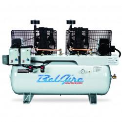 BelAire Compressors - 3320DL - BelAire 3320DL Horizontal 15 Hp 7.5 x 7.5, 200 Gallon, 208-230/460v 3Phase Duplex (44.56 Cfm@175)